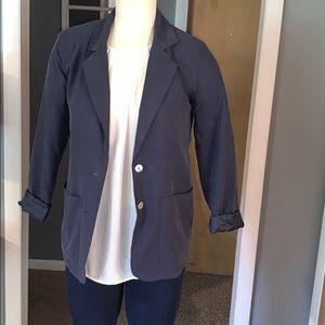 Silk navy blue woman's blazer small